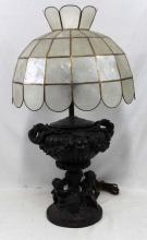 French 19 Century Black Patina and Mother of Pearl Lamp