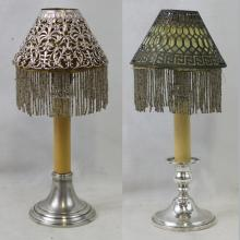 Two Sterling Silver Single Light Candlestick Lamp with Riser and Silver Shade