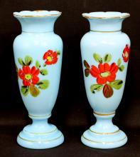 Pair Opalien Opaque Blue Glass Vase