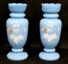 Pair Opalien Opaque Blue Glass Vase with Decoration