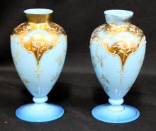 Pairs of Blue Opalien Glass Vase, early 20th century, Each with Gilded and Enameled Floral Decoration