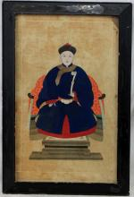 19 Century Chinese Watercolor Painting of Seated King / Emperor