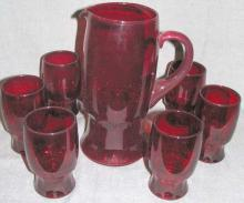 Set of Six Red Glass Cups and Pitcher