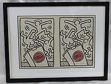 Modern Abstract Lithograph Signed with Pencil and Stamped, After KEITH HARING