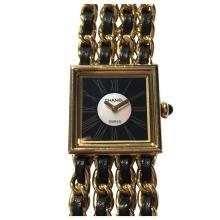 Chanel Ladies Yellow Gold Leather Mademoiselle Quartz Wristwatch