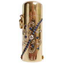 French Sapphire Diamond Yellow Gold Lipstick Case
