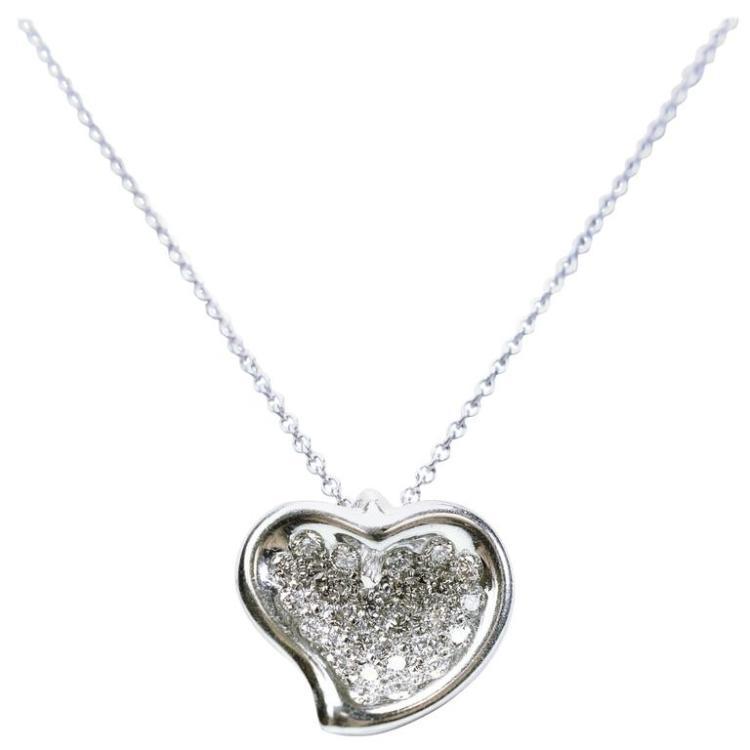 9550e69c481a1 Tiffany & Co. Elsa Peretti Full Heart Pave Diamond Platinum Pendant
