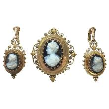 Victorian Onyx Cameo Gold Pendant Brooch and Earrings Ensemble