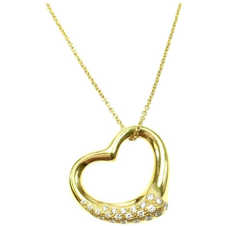 6fe31839ae1dd Tiffany & Co. Elsa Peretti Open Heart Diamond Gold Necklace Large