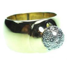 Tiffany & Co. Gold and Platinum Diamond Pavé Ball Ring