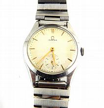 Vintage Omega gentleman's wristwatch, with steel case and strap, the cream