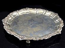 Silver wine / card waiter, acanthus rim, scroll feet, approx. 20cm dia., Bi