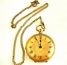 Ladies 18ct gold cased pocket watch, Roman numerals and floral decoration,