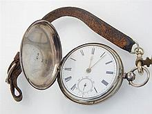 Mid 19th century silver full hunter pocket watch, fusee movement, signed to