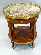 Louis XVI design yew centre table with brass galleried variegated marble to