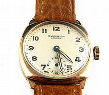 J. W. Benson gentleman's 9ct pocket watch, the cream dial set out with Arab