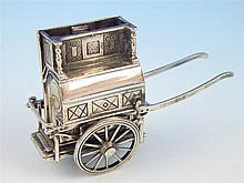 Unusual Continental silver (925) model of a barrel organ on a hand cart, (2