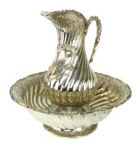 A magnificent Antique 19th Century French Silver ewer & basin