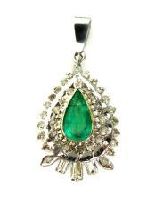 An emerald and diamond parure