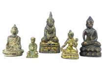 A collection of five antique bronze figures of the seated Buddha, the large