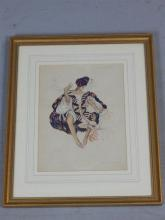 In the manner of Leon Bakst (1866 - 1924) Costume design for the Jewish Dancer in the ballet Cleopatra, pencil and watercolour, bearing signature and dated 1910 lower left, 31x 24cm