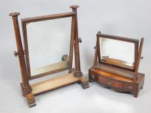 Mid Victorian mahogany toilet mirror and a Regency toilet mirror with bow f