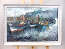 Terry Burke, British, b. 1927, study of fishing trawlers beached on the tid