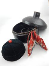 Chinese late 19th c lacquered hat box, a pair of ladies bound feet silk sho
