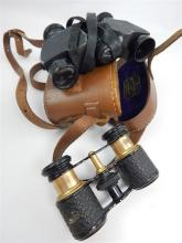 Pair of Negretti Zambra field glasses, tan leather cased and a pair of late