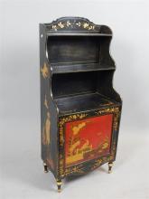 Regency chinoiserie bookcase, waterfall shelving over panel door cupboard,