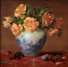 Peach Roses in Vase by Elizabeth Robbins, AWAM, OPA & NOAPS