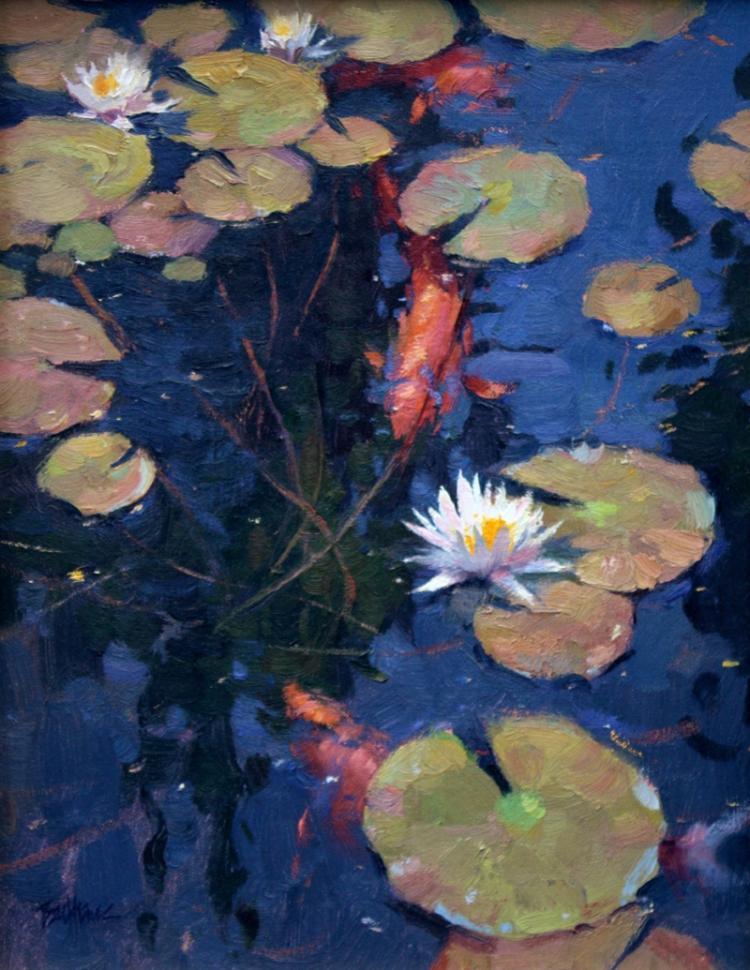 Blossoms on the Koi Pond by Kenn Backhaus, OPAM, AISM, CAC, PAPA