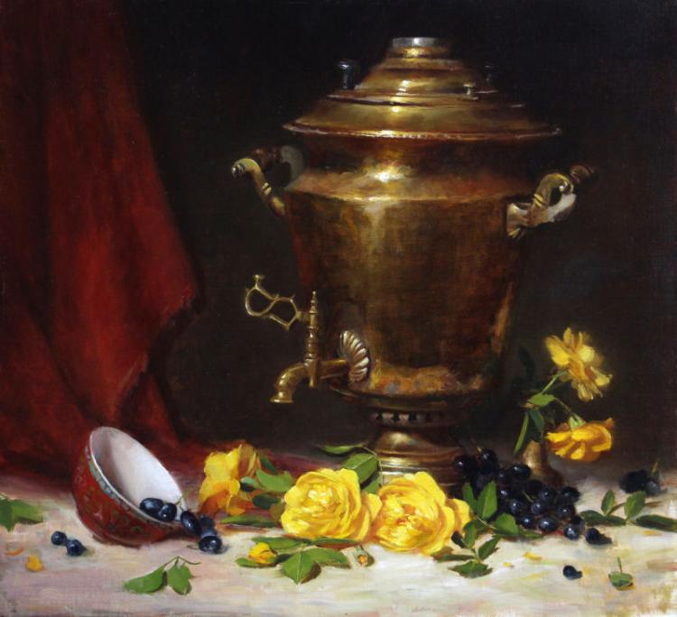 Russian Samovar and Roses by Elizabeth Robbins, AWAM, OPA, NOAPS
