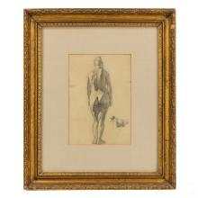L. Eilshemius 1864-1941 Nude Female Pencil Drawing