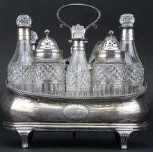 English Regency Sterling Silver Crystal Cruet Set