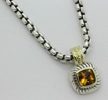 David Yurman 18k & .925 Necklace & Citrine Pendant