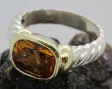 David Yurman 18k & .925 Silver Citrine Cable Ring