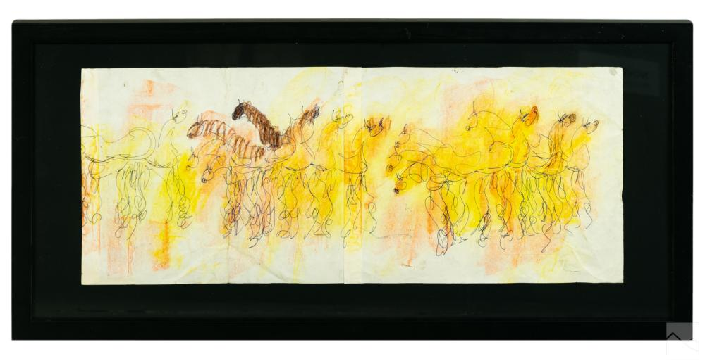 Purvis Young 1943-2010 Outsider Found Art Drawing