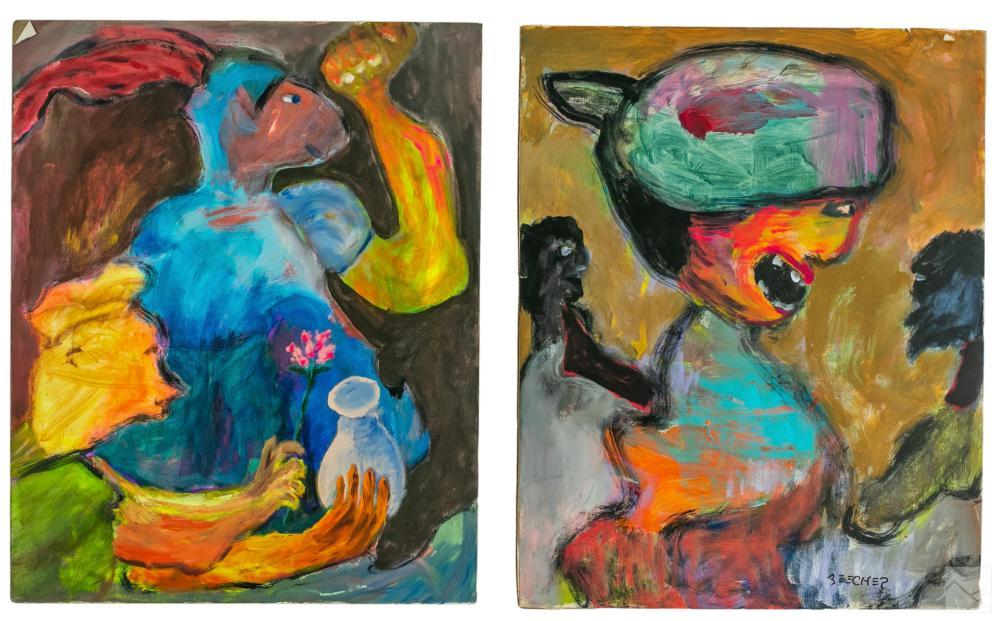 Gene Beecher 1909-2002 Outsider Folk Art Paintings
