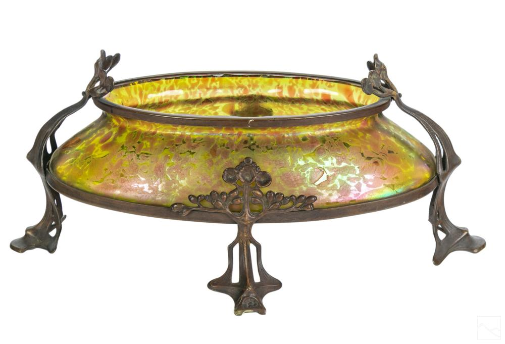 Austrian Art Nouveau Jugendstil Glass Console Bowl
