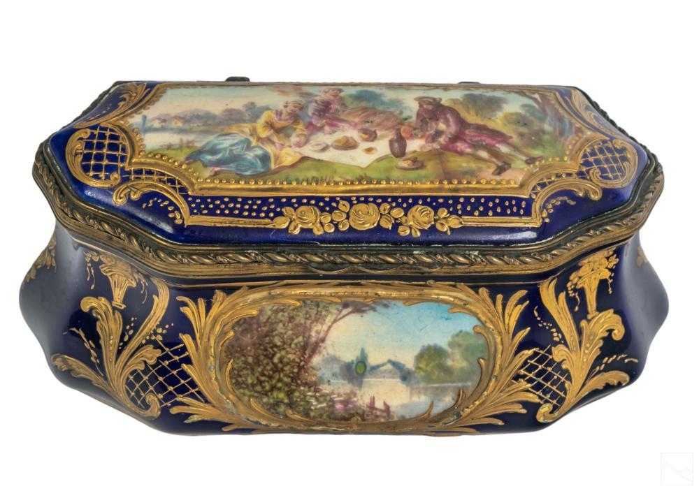 Sevres (19C.) French Porcelain Casket Dresser Box
