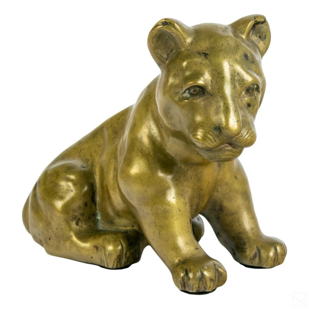 Bronze French Animalier Simba Lion Cub Sculpture