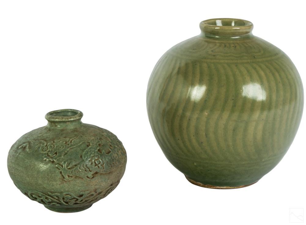 Korean S.E. Asian Celadon Maebyeong Porcelain Vase