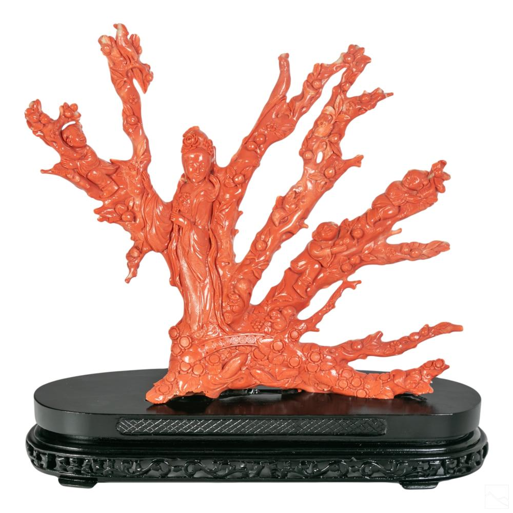 Chinese Carved Red Branch Coral Guanyin Sculpture