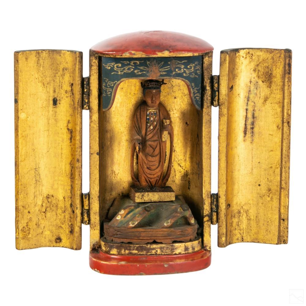 Japanese Figural Buddha Lacquered Wood Shrine Box