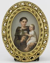 Antique Berlin Porcelain Portrait Plaque of Saints