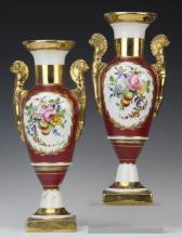 PAIR Sevres French Porcelain Gilt Floral 10