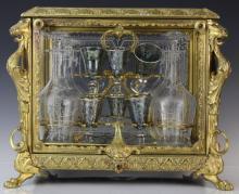 Antique Ornate French Bronze Tantalus Liquor Set