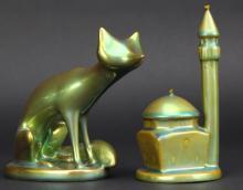 2pcs ZSOLNAY Eosin Art Pottery Fox Minaret Figures