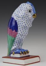 HEREND Blue Fishnet Owl on Book Porcelain Figurine